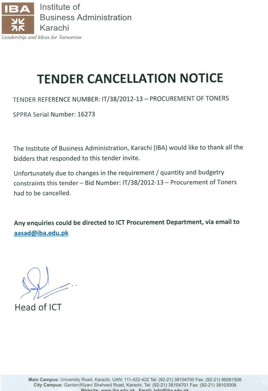 Cancellation Letter Procurement Of Toners