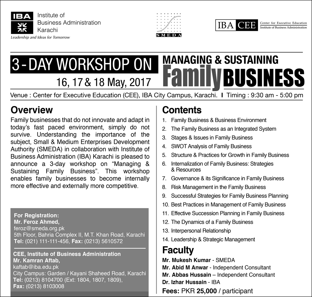 3 Days Workshop on Managing & Sustaining  				Family Business May 2017