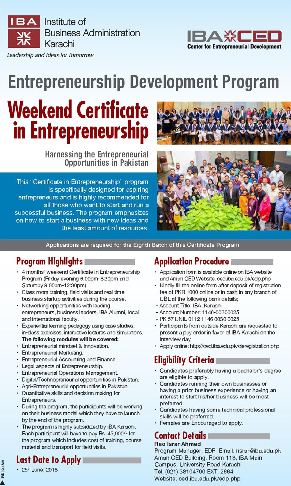Iba Ced Weekend Certificate In Entrepreneurship