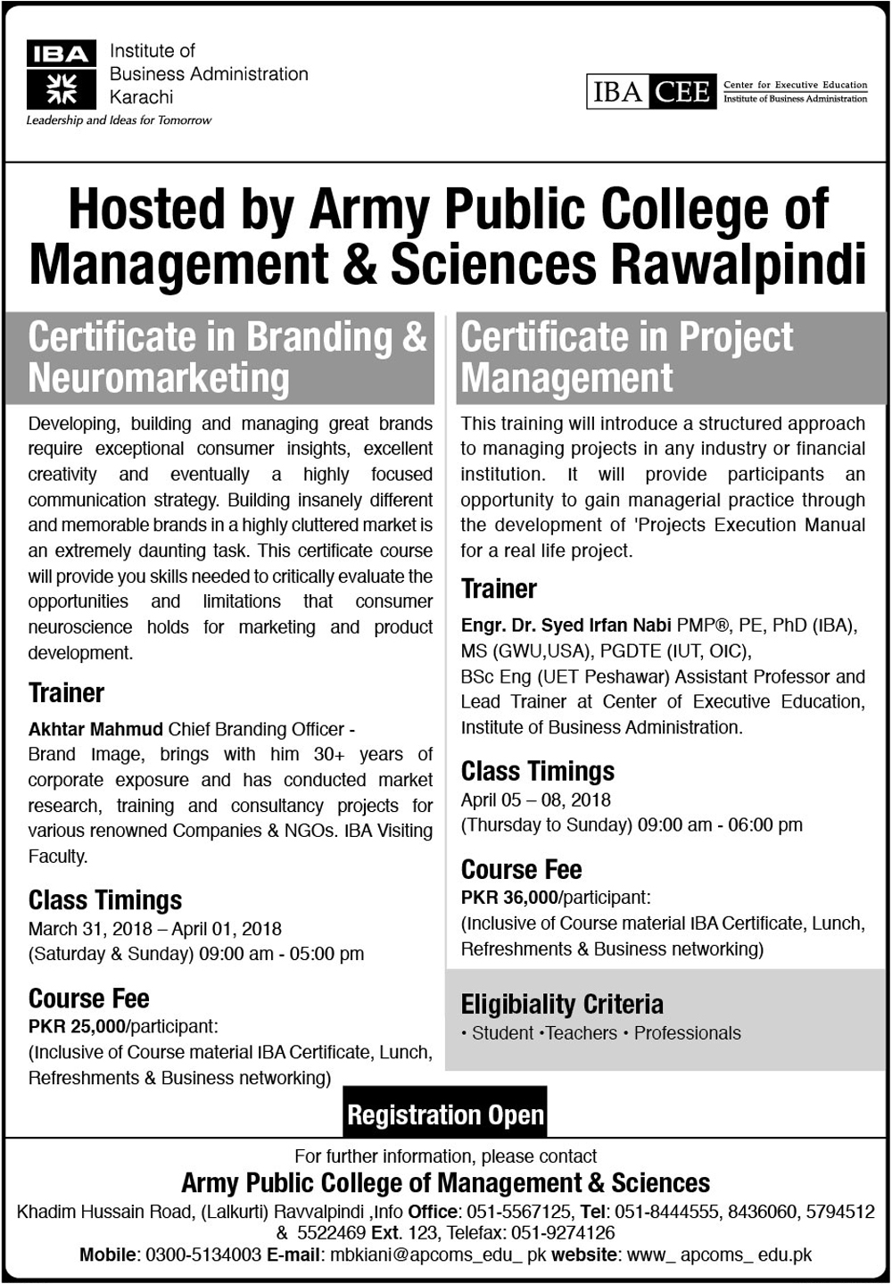 IBA CEE - APCMS Certificate Courses