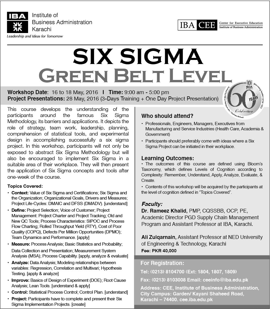 Six Sigma Green Belt Level 16 18 May 2016