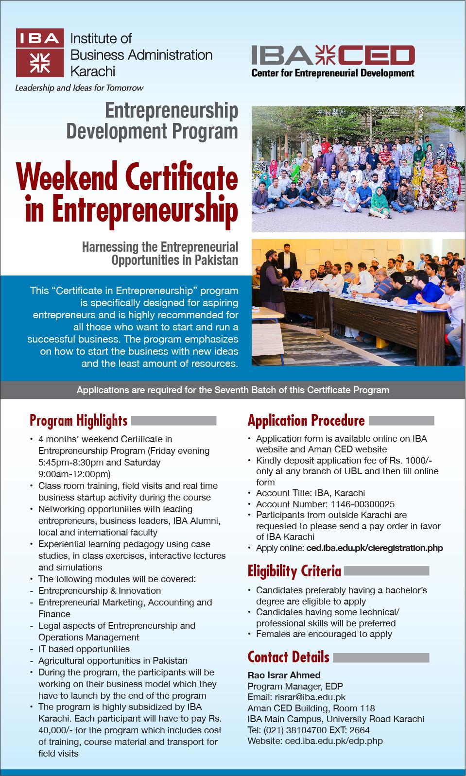 Weekend Certificate In Entrepreneurship
