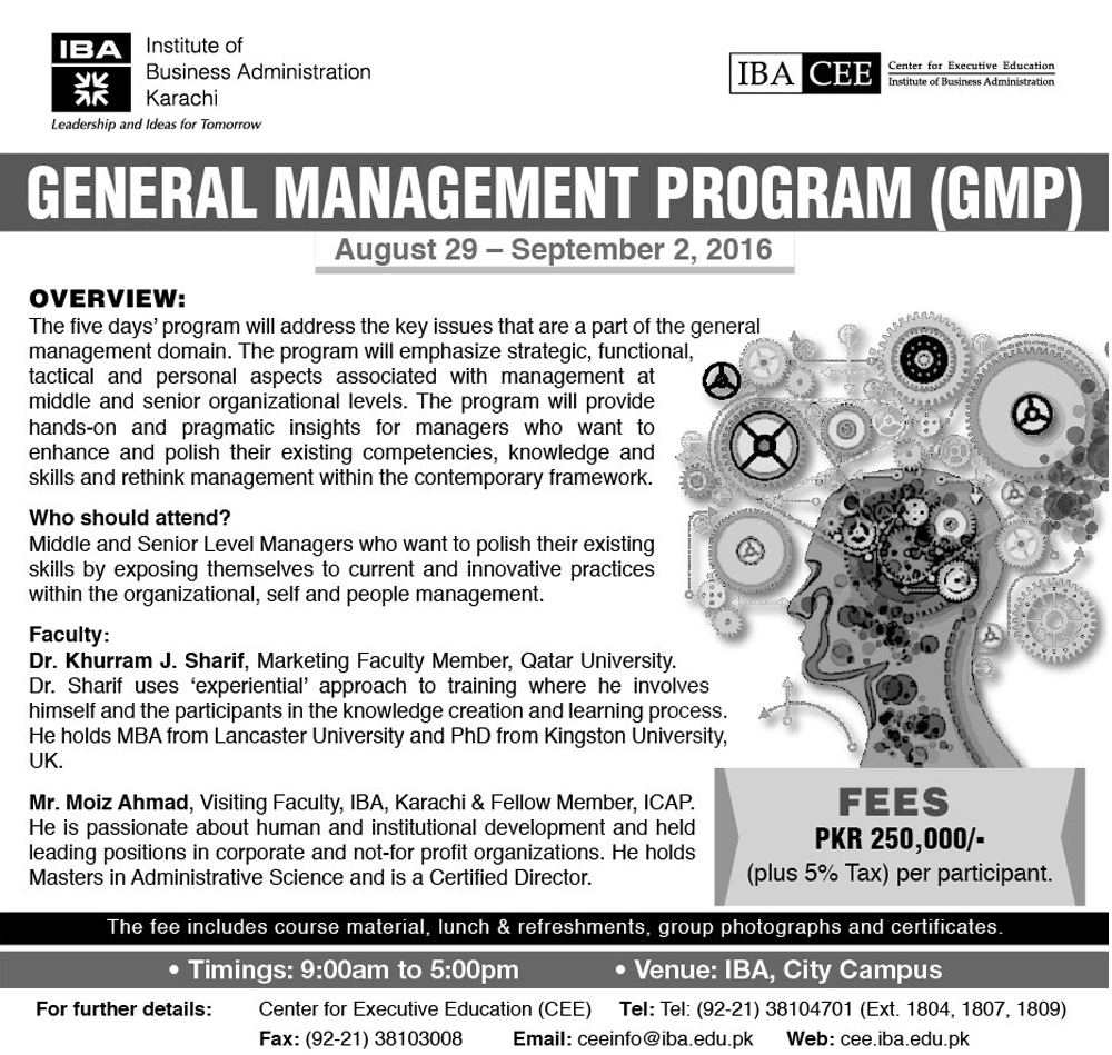 General Management Program (GMP) Aug 29 - Sep 2, 2016