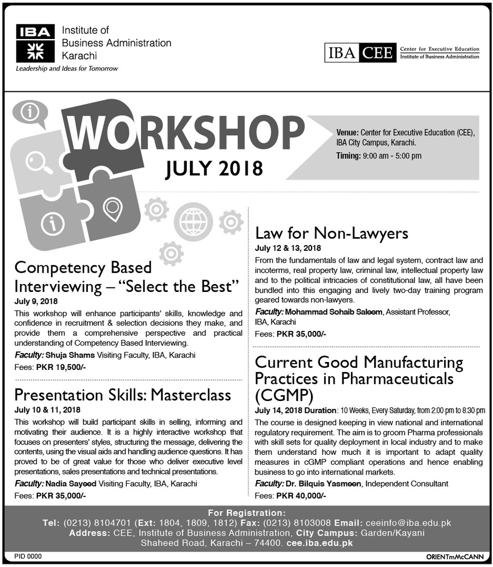 IBA-CEE Workshop July 2018