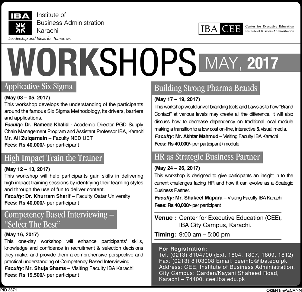 CEE Workshops - March 2017