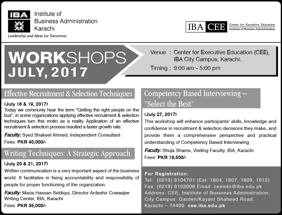 CEE - Workshops July, 2017