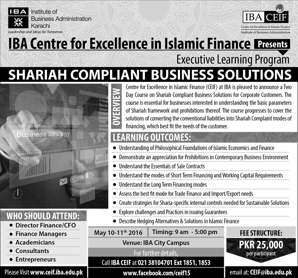 IBA-CEIF Executive Learning Program Shariah complaint Business Solutions