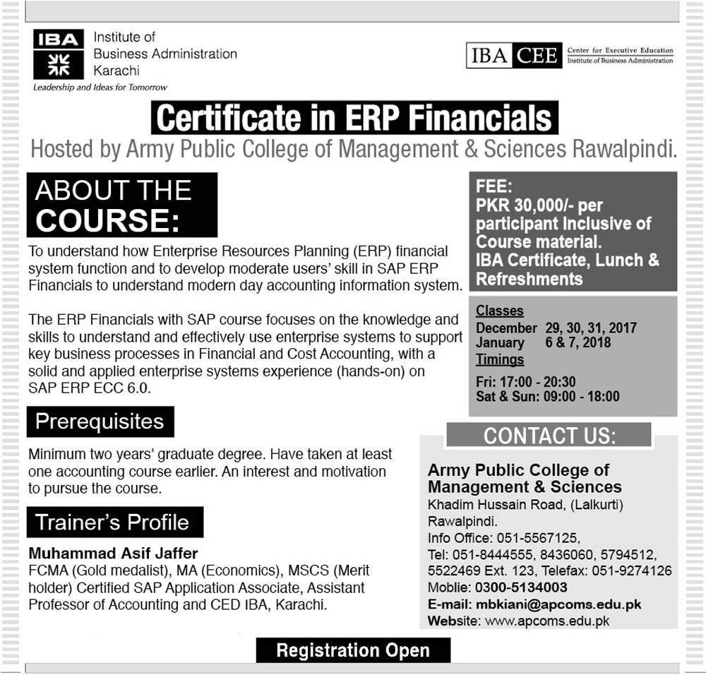Certificate in ERP Financials