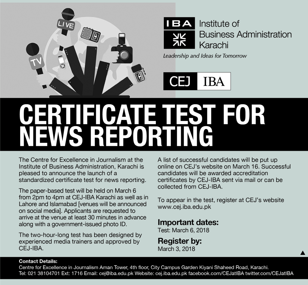 IBA-CEJ Certificate Test for News Reporting