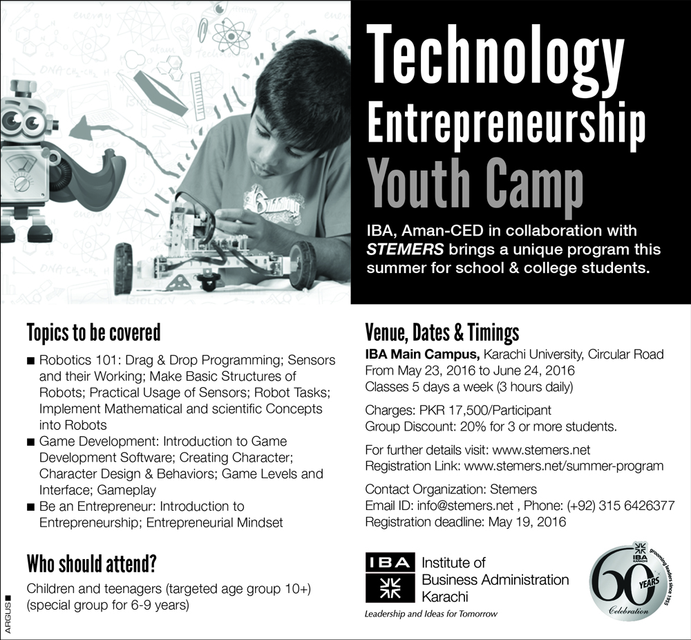 Tech Entrepreneurship Youth Camp starting from May 23, 2016