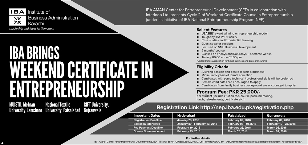IBA Brings Weekend Certificate in Entrepreneurship