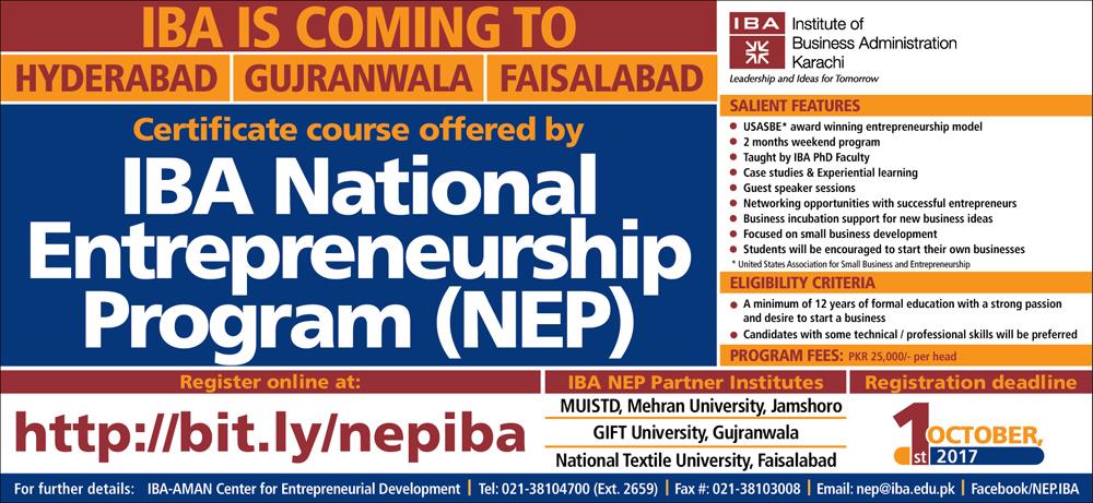 IBA National Entrepreneurship Program (NEP)