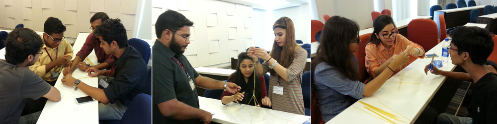 Marshmallow Challenge executed by Dr. Najam A. Anjum in BBA FME class at CED