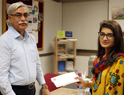 Shahid Shafiq, Alumni Representative on the Board of Governors of the IBA meets Ms. Muskan Amjad – an NTHP student