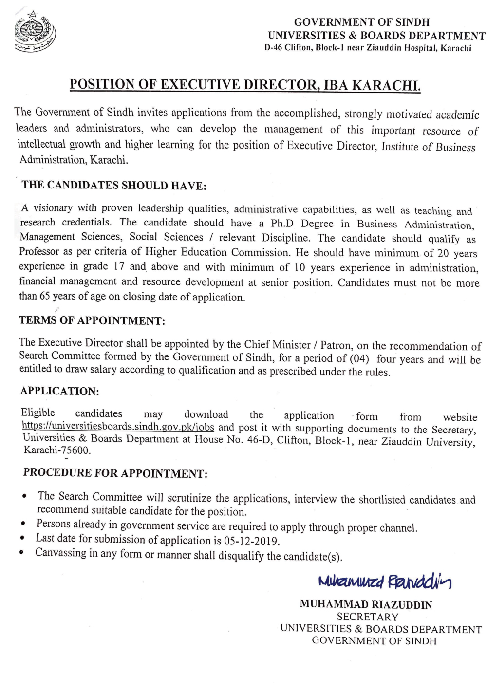 Position of Executive Director Advertisement