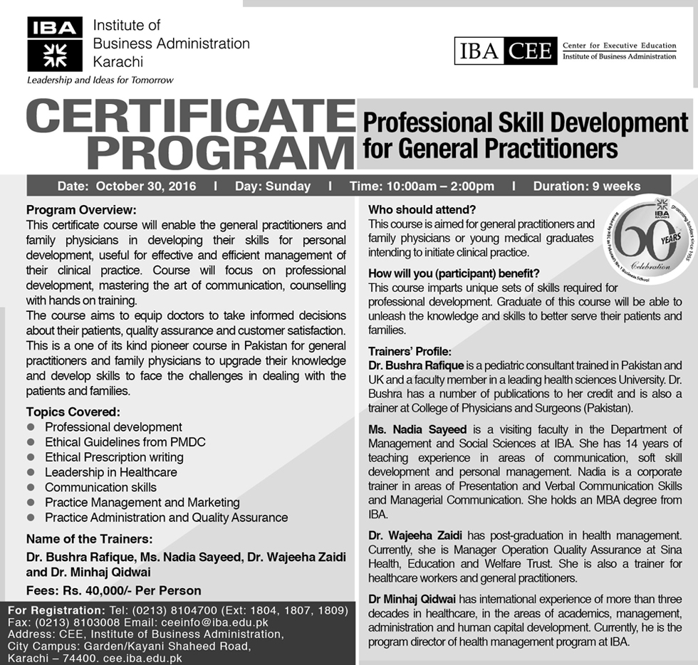 Certificate Program - Professional Skill Development for General Practitioners