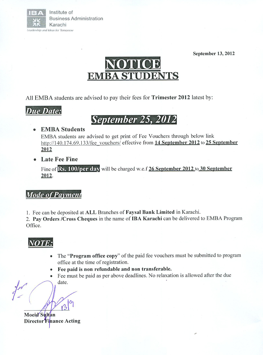 Emba Students Fee Notice