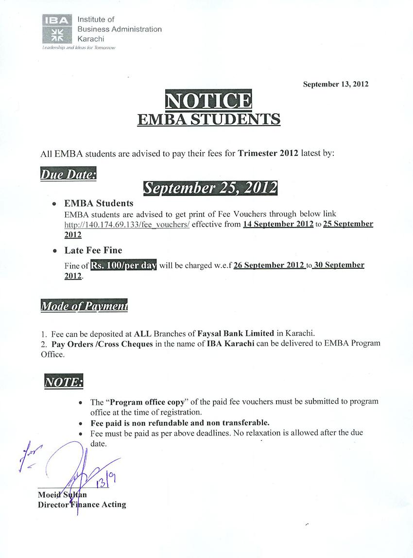 Emba Students Fee Notice